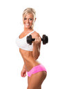 Fitness sport women smiling happy with dumbbell woman on white background Stock Photos