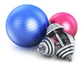 Fitness and sports equipment healthy life concept balls pair of metal shiny dumbbells isolated on white background Royalty Free Stock Image