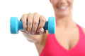 Fitness sportswoman lifting weights exercising aerobic isolated on a white background Royalty Free Stock Photos