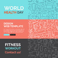 Fitness template with line icons