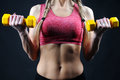 Fitness torso of a young fit woman lifting dumbbells on dark background Royalty Free Stock Image