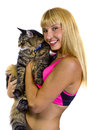 Fitness Trainer and a Fat Cat Royalty Free Stock Images