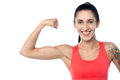 Fitness trainer flexing her biceps smiling young fit gym woman muscles Royalty Free Stock Photo