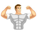 Fitness trainer sport instructor muscular man vector illustration Stock Photos