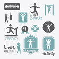 Fitness vector labels over white background illustration Stock Images