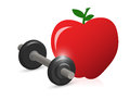 Fitness weight and apple illustration design over white Royalty Free Stock Photos