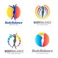 Fitness and wellness vector logo design. Body balance logo set