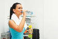 Fitness woman attractive young drink water from plastic bottle Stock Photo