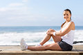 Fitness woman beach young on Stock Photo