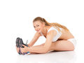 Fitness woman beautiful young doing exercise on the floor isolated on white background Royalty Free Stock Photo