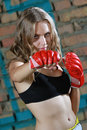 Fitness woman boxing doing punching exercises outdoor Royalty Free Stock Images