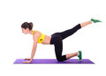 Fitness woman doing stretching exercises on foam pad isolated white Royalty Free Stock Photography