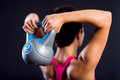 Fitness woman doing a weight training with kettlebell Royalty Free Stock Photography