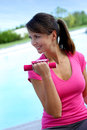 Fitness woman exercising outside Stock Image