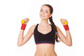 Fitness woman lifting dumbbells Stock Photos