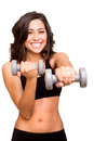 Fitness woman lifting weights beautiful Stock Images