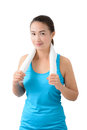 Fitness woman portrait isolated on white background. Royalty Free Stock Photo