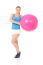 Fitness woman portrait of with pink ball on white background Stock Photo