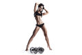 Fitness woman in sport wear with perfect fitness body sexy young muscled brunette girl back posing isolated over white background Royalty Free Stock Images