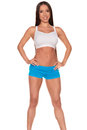 Fitness woman standing against isolated white background Royalty Free Stock Photo