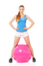 Fitness woman young happy doing exercise with ball isolated on white background Stock Photo