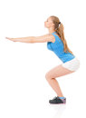 Fitness woman young happy doing exercise isolated on white background Royalty Free Stock Photo