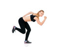 Fitness woman young happy doing exercise isolated on white background Royalty Free Stock Image