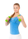 Fitness woman young in wear exercising with dumbbells isolated on white background Royalty Free Stock Photos