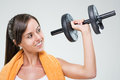 Fitness women with dumbbell woman on gray background Royalty Free Stock Photo