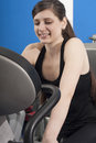 Fitness young woman doing sport spinning in the gym for Stock Image