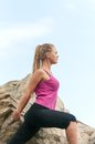 Fitness young woman training on mountain road in beautiful nature caucasian female sport model Stock Photo