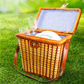 Fitted wicker picnic basket or hamper Royalty Free Stock Photo