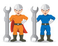 Fitter mechanic repairman mascot two muscular mascots of vector illustration Stock Image