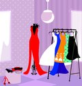 Fitting room in the abstract store dressing with womens dresses Stock Image