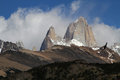 Fitz roy and condor flying in front of the summit Stock Images