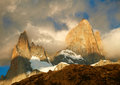 Fitz Roy mountain in sunrise lights. Royalty Free Stock Photo