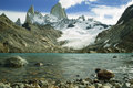 Fitz roy peaks with clear blue glacial lake from low perspective Royalty Free Stock Photo