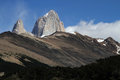 Fitz roy summit over the hills of el chalten Stock Images