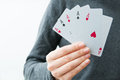 Five aces hand business woman holding a as a winner concept Royalty Free Stock Photography