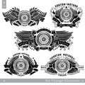 Five banners with motorbike wheel in side view with wings, stars and ribbon. Vintage motorcycle design