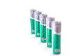 Five battery aa in a line on the white background Royalty Free Stock Photos
