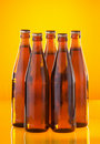 Five bottles with beer Royalty Free Stock Photo