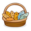 Five Bread And Two Fish in A Basket Royalty Free Stock Photo