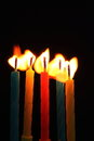 Five candles and flames Royalty Free Stock Images