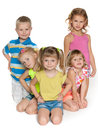 Five children on the floor Royalty Free Stock Photo