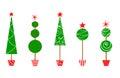 Five Christmas Topiary Trees