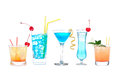 Five cocktails with alcohol margarita cocktail martini blue hawa Royalty Free Stock Photo