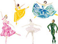 Five color ballet dancers Stock Photo
