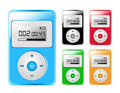 Five Colored MP3/iPod Players Royalty Free Stock Image