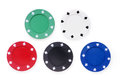 Five colored poker chips set. Without labels, isolated on white. Royalty Free Stock Photo